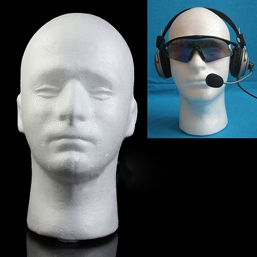 (FEIDAjdzf Mannequin-Kopf, männlicher Mannequin Styroporschaum, Modell Perücke, Brillen, Hut, Display Ständer – Weiß)