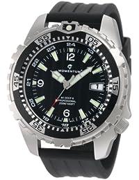 Momentum M1 Deep 6 - Reloj analógico de caballero de cuarzo con correa de goma negra - sumergible a 200 metros