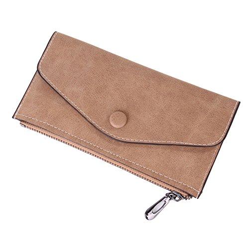ALCYONEUS Damenmädchen Trendy Slim Zipper Matte Faux Leder Einfache lange Umschlag Wallet Party (Kaffee) (Faux-leder-umschlag)