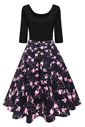 Axoe Damen A-Linie Kleid 60er Jahre Rockabilly mit Blumenrock 3/4 Ärmel Gr.48