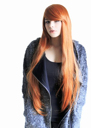 Prettyland C360 – 85cm Look glamour long raide – perruque élégante - orange