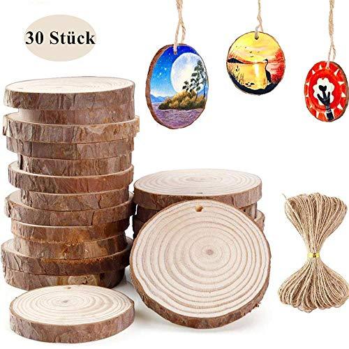 Holzscheiben zum basteln 30 Stück Baumscheiben(6-7 cm), Natur DIY Handgemachte Handwerk Bemalen Dekoration Holz Scheiben mit Loch Tischdeko Hochzeits- und Weihnachtsdekoration mit 10M Jute Twine