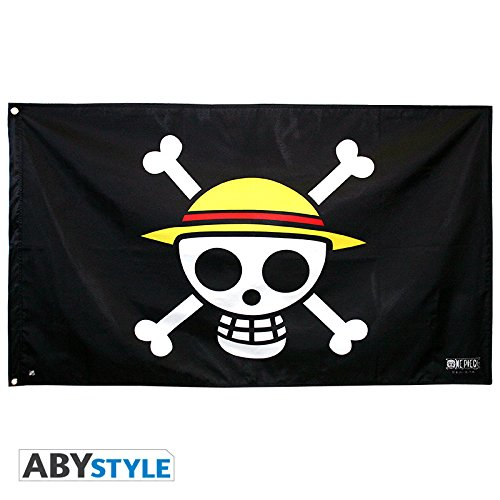 Abystyle - ABYDCT002 - Bandiera di One Piece, motivo: teschio con capello di Monkey D. Rufy, dimensioni: 70 x 120 cm