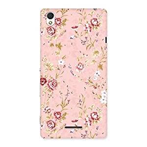 Neo World Peach Red Floral Back Case Cover for Sony Xperia T3