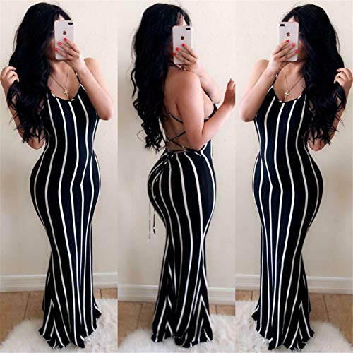 QSAWAL& Sexy Women Spaghetti Strap Bandage Backless Sleeveless Stripe Bodycon Long Dress Black M Jovani Homecoming