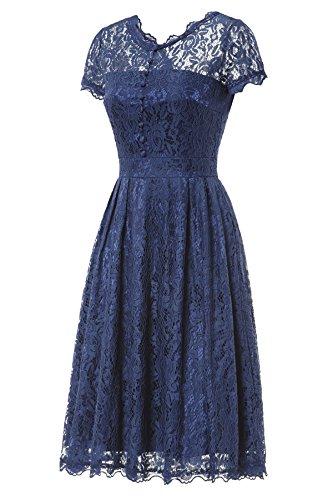 Gigileer Elegant Damen Kleider Spitzenkleid Cocktailkleid Knielanges Vintage 50er Jahr hochzeit Party blaue M - 3