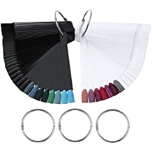 100 Stück Nail Art Nagel Kunst Polish Display Fan Stick mit 5 Ringe Präsentation Design für Nailart
