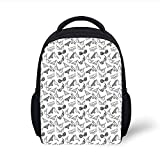 Kids School Backpack Black and White,Lingerie Underwear Pattern Bras and Panties Doodle Feminine Fashion Theme,Black White Plain Bookbag Travel Daypack