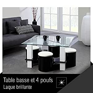 OLA Table basse + 4 poufs 90 cm noir