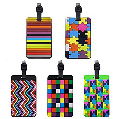 Wasongrew 5 X Gepäck Tags Tetris Muster Gummi Id Tags Mit Gurt Visitenkartenhalter Für Gepäck Gepäck Identifier