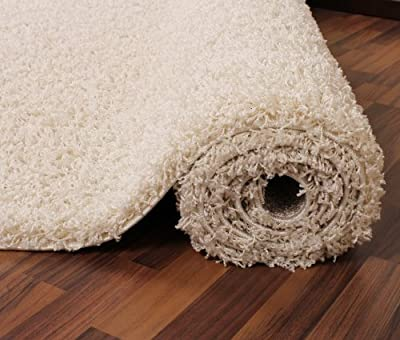 Shaggy Rug High Pile Long Pile Modern Carpet Uni Cream Ivory - cheap UK rug store.