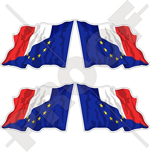 europe-france Waving Flag, eu-fr europäischen union-french 5,1 cm (50 mm) Bumper Sticker, Aufkleber Vinyl X4 (links-rechts) (French Flag Bumper Sticker)