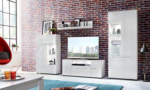 trendteam VIS97301 Wohnwand Kombination Weiß Hochglanz, BxHxT 321 x 193 x 45 cm - 4