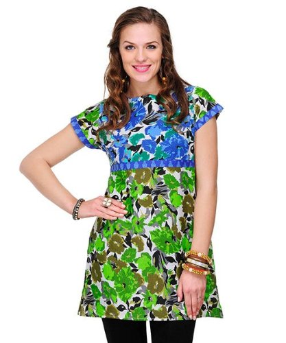 Yepme Women's Polyester Crepe Blend Green & White Felicia Kurti - S  available at amazon for Rs.209