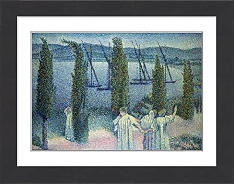 Framed Print of Coastal View with Cypress Trees, 1896
