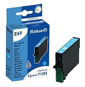 Cyan (T1282) d'encre Pelikan Cartouche d'encre E69remplace Epson T1282, cyan, 3,5ml, Attitudes pour: Epson Stylus Office BX305FN, BX305FW, BX305FW Plus, bx320WD, Stylus S22,