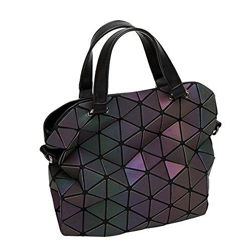 Frosted Leuchtende Tasche Diamant Gefaltet Geometrische Rhombische Tasche Schulter Hand Pailletten Handtaschen,B-OneSize