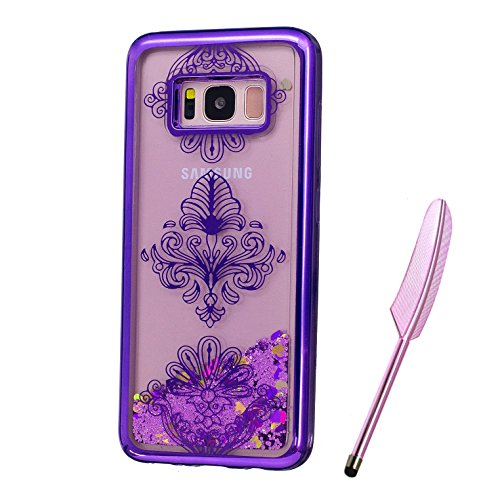 Galaxy S8 Plus Case, Purple Plating Design, Edaroo 3d Cool Flowing Liquid Bling Sparkle Purple Glitter Style Beautiful Totem Henna Pattern Slim Thin Fits Soft Rubber TPU Bumper Protective Case Cover for Samsung Galaxy S8 Plus
