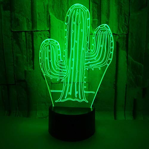 ein kaktus zum valentinstag Nmdztz Nachtlicht Kaktus Acryl 7 Farbe 3D Nachtlicht Led Usb Vision Schreibtischlampe Wohnkultur