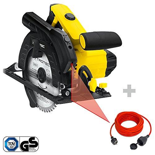 TROTEC Handkreissäge PCSS 10-1400 inkl. Qualitäts-Verlängerungskabel 15m | variabler Drehzahlsteuerung (65 mm Schnitttiefe, Sägeblatt 190 mm, 1.400 W)