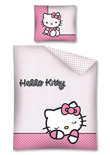 Hello Kitty Bettwäsche, Wendebettwäsche 140x200 cm, Kissen 70x90 cm 100% Baumwolle Rosa