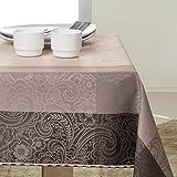 140x260 Kaffee schoko beige Tischdecke Tischtuch Blumenmuster Blumenmotiv elegant praktisch pflegeleicht fleckgeschützt Fiori