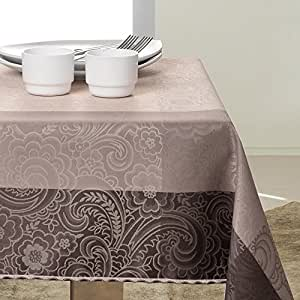 140x280 Kaffee schoko beige Tischdecke Tischtuch Blumenmuster Blumenmotiv elegant praktisch pflegeleicht fleckgeschützt Fiori