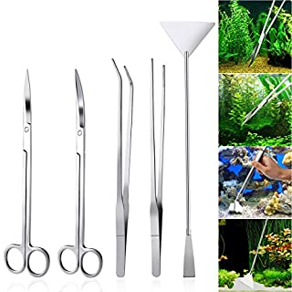 UEETEK 5 in 1 Edelstahl Aquarium Aquascaping Kit Aquarium Tank Aquatic Pflanze Werkzeuge Sets Pinzette Scissor Spatel