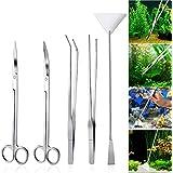 UEETEK Acquario Aquascaping Kit 5 in 1 in acciaio inox acquario serbatoio pianta acquatica strumenti set pinzette forbice spatola