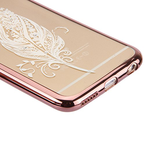 Coque Housse Etui pour iPhone 6s, iPhone 6 Coque en Silicone avec Bling Diamant Or Rose, iPhone 6S Placage de diamant Or Rose Coque Rose Gold Etui Housse, iPhone 6s Silicone Transparent Case Soft Gel  Rose Gold-Une plume