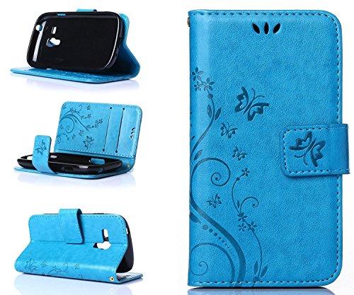 Preisvergleich Produktbild ZeWoo Folio Ledertasche - R149 / Schmetterling und Blume (blau) - für Samsung Galaxy S3 Mini (4 Zoll)(NICHT FÜR Normales S3) PU Leder Tasche Brieftasche Case Cover