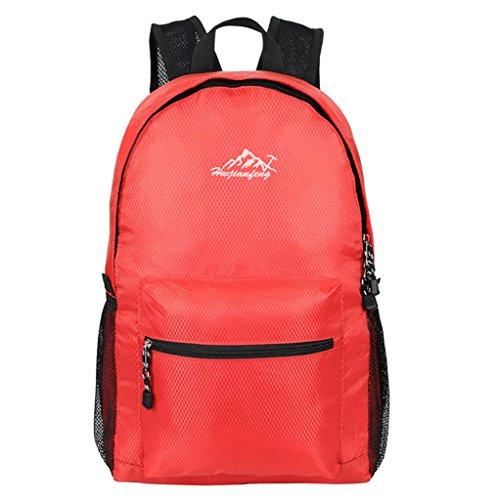 Super Modern Unisex Nylon Sport Rucksack Schule Tasche faltbar Rucksack Wasserdicht Wandern Rucksack Cool Leichte Laptop-Tasche iPad Rucksack Rot