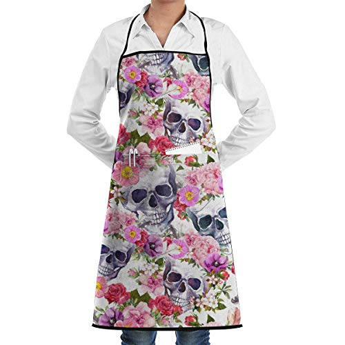 Aprons for Women Human Skulls with Flowers Pattern Menâ€s Womenâ€s Unisex Manicure Store Kitchen Long Aprons Sleeveless Overalls Portable with Pocket for Cooking,Baking,Crafting,Gardening,BBQ