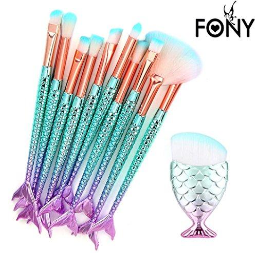 SHOBDW Pinceaux Maquillage Cosmétique Professionnel Cosmétique Brush Beauté Maquillage Brosse Makeup Brushes Cosmétique Fondation avec Sac Abordable, 11pcs Set/Kit Poisson Multicolore