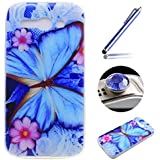 Funda Caso de Movil [Alcatel One Touch Pop C9] ,ETSUE Moda Trasparente Suave Protector de Funda Caso para Alcatel One Touch Pop C9,Alcatel One Touch Pop C9 Silicona Delgado Ultra-Thin Funda Cáscara del teléfono para Alcatel One Touch Pop C9+ 1 x Blue Stylus Pen + 1 x tapón anti polvo (colores aleatorios) - Mariposa Azul