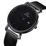 BUREI Herren Damen Armbanduhr Dünne schwarz Quarzuhr mit Datum Kalender und Edelstahl Mesh Armband Einfach Design (Silber - Schwarz)