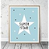 Kinderposter Kinderzimmerbild mit Spruch SUPER STAR und Sternen - für Jungen, Baby, Kind - Geschenkidee zur Geburt, Taufe, Geburtstag; Poster Kinderzimmer Wandbild, skandinavisch - ungerahmt