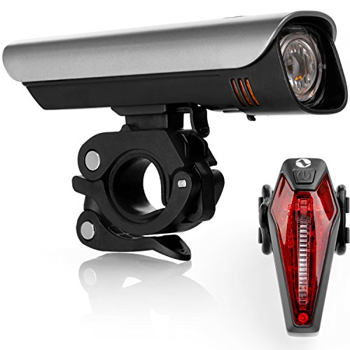 LED Fahrradbeleuchtung Set für ALLE Lenker mit Hochleistungs CREE-LEDs und Samsung Li-Ionen Akku ( Ultrahelle 300 Lumen, Wasserdicht IPX4, Hält Bis zu 8 Stunden )
