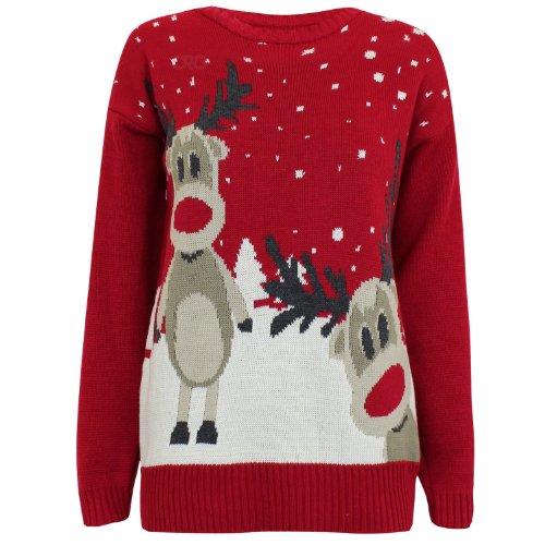 *Fast Fashion Damen Weihnachtspullover Rudolph Drucken*