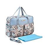 Chilsuessy Multifunktionale Kinderwagen Organizer Mutter Handtasche Wasserdichte Baby Windel Wickeltasche Baby Reisen Tasche, Blau Blumen