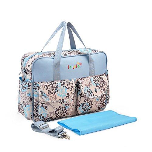 Chilsuessy Multifunktionale Kinderwagen Organizer Mutter Handtasche Wasserdichte Baby Windel Wickeltasche Baby Reisen Tasche, Beige Blau Loewenzahn