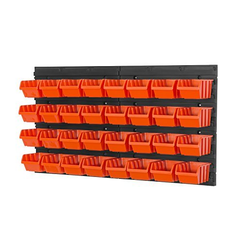 34 teiliges Wandregal Lagerregal Regale inkl. Stapelboxen Gr. 1 orange Werkstatt