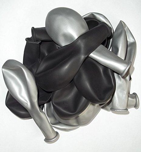 (Sachsen Versand 50 schwarz-silber-metallic-Luft-Ballons glänzend-metall-Feier-Deco-Geburtstag-Fete-Helium-geeignet EU Ware)