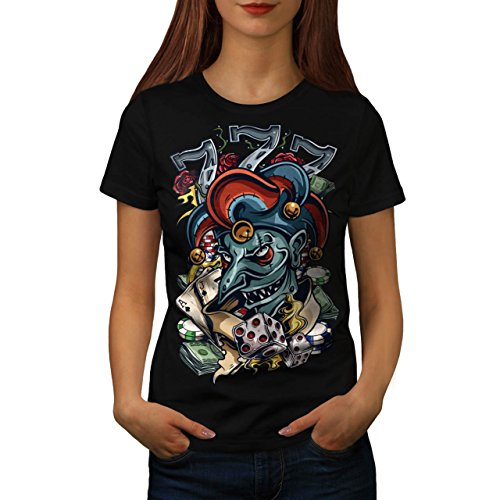 Clown Würfel Poker Horror Damen S-2XL T-shirt   Wellcoda Black