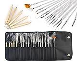 jiajia YL 20Stück von Nail Art Pens Set Malerei Zeichnung Pinsel Bürste Werkzeug-Nagel Decor, mit Ein Tasche