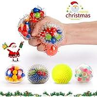 Fansteck Balle Anti-Stress, Pack de 4 Squishy Ball / Balle de soulagement / Jouet à soulagement du Stress(4 balles différentes)