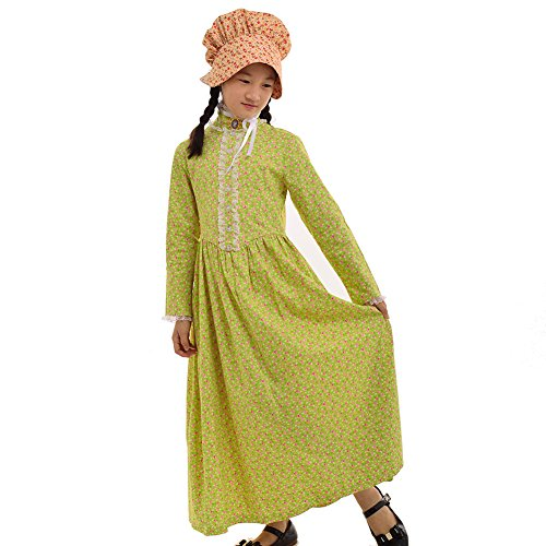 GRACEART Reenactment Pionier Prärie Kolonialen Mädchen Kostüm (US Size-10, Gelb)