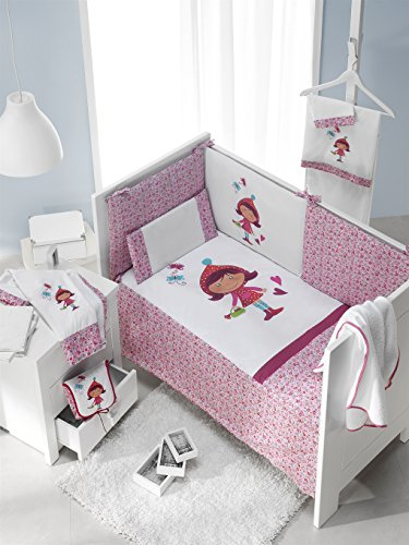 inter-bebe-91701-set-3-piezas-edredon-nido-y-almohadas-para-cuna-mod-caperucita-roja-60-x-120-cm