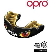 Opro Power-Fit | Mouthguard hecho a mano para adultos | Escudo de goma para Rugby, Hockey, Lacrosse, Boxeo y otros deportes de contacto y combate (10 años o más) | 18 meses de garantía dental (Ojos Negro/Dorado/Rojo)