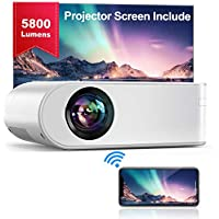"YABER WiFi Projector Mini Portable Projector 5800 Lumens 1080P Full HD Projector[Projector Screen Include] 200"" Home theater Compatible with PC/smartphone/tablet/PS3/PS4/TV Stick/DVD player etc."